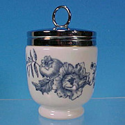 Vintage ROYAL WORCESTER Porcelain Egg Coddle Coddler RHAPSODY King Size Black Backstamp