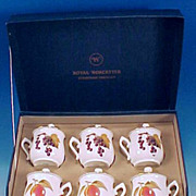 Vintage ROYAL WORCESTER Pot de Creme / Chocolate Cups Set of Six Evesham