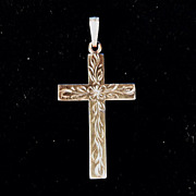 Vintage 12K Yellow Gold Cross Floral & Vine Engraving Dainty B.A. Ballou Jewelry Co.