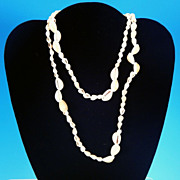 "Vintage Single Strand Natural Sea Shell Necklace 36"" Cowry and Conch Shells"