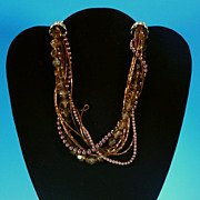 "Retro Multi-Strand Chunky Beaded 14"" Choker Necklace - Browns, Topaz and Metallic Burgund"