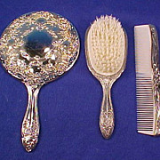Vintage Silverplate Lady's / Ladies VANITY DRESSER BOUDOIR SET Hand Mirror, Hair Brush & Frenc