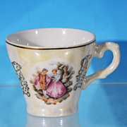 Pre-WWII Victorian  Bone China Opalescent Portrait Demitasse Tea Cup - JAPAN