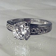 Estate Diamond ROUND SOLITAIRE Engagement Ring CZ - Size 8