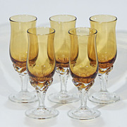 Vintage Art Glass Amber Crystal Glass Smokey Topaz Cordial Stemware - Set of 5