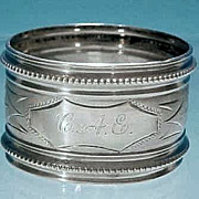 Antique Victorian Silver Plate Napkin Ring Monogram C.A.E.