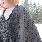 SALE Child's or doll's  mourning shawl