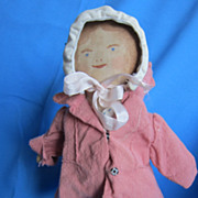 Vintage painted watercolor cloth doll with major charm factor!