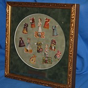 SALE Early, Framed Paper dolls