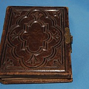 Antique leather bound photo album