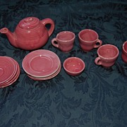 Adorable rose pink pottery tea set