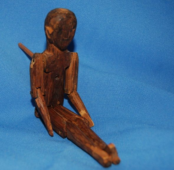 Early Wooden folk art dancing man toy