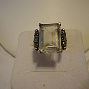 1920s Sterling Silver Glass & Marcasite Art Deco Size 10 Ring