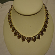 "Rare Francois by Coro 1950s Gold Rhinestone 18"" Necklace"