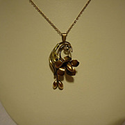 "Super 1930s Gold over Sterling Silver Floral Pendant on 20"" Chain"