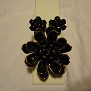 Super Vendome Black Enamel Gold Tone Brooch & Earring Set