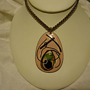 "Chic 1960s Modernist Pink Abstract Enamel on Copper Pendant on 26"" Brass Chain"