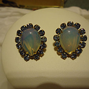 Pair of Miriam Haskell Signed Moonstone & Blue Stone Earrings