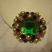 Magnificent Austria Green, Blue, White Rhinestone & Pearl Brooch
