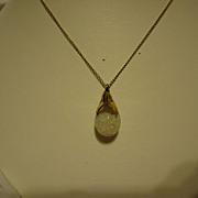 "Pretty Vintage 12k Gold Filled Floating Opal Pendant on 18"" Chain"