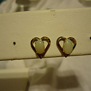 Great Pair of 14k Yellow Gold Heart Shape Opal Earrings
