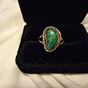 Navajo Sterling Silver Turquoise Lex Billie Signed Size 12 Ring