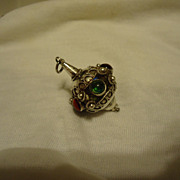 Fabulous Antique Sterling Silver Etruscan Colored Stone Pendant