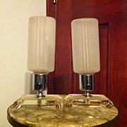 Fabulous Pair of Art Deco Machine Age Glass & Chrome Lamps