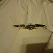 Vintage Designer Sterling Silver Aquamarine Bangle Bracelet