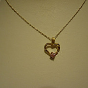 "14k Yellow Gold Pink Sapphire Heart Pendant on 20"" Chain"