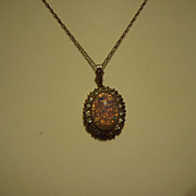 "Art Deco Gold Filled Opal & Crystal Pendant on 18"" Chain"