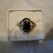 SALE Beautiful Southwestern Sterling Silver Black Onyx Size 8.5 Ring