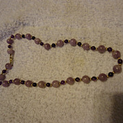 "SALE Fabulous 14k Purple Agate & Amethyst Beaded 18"" Necklace"