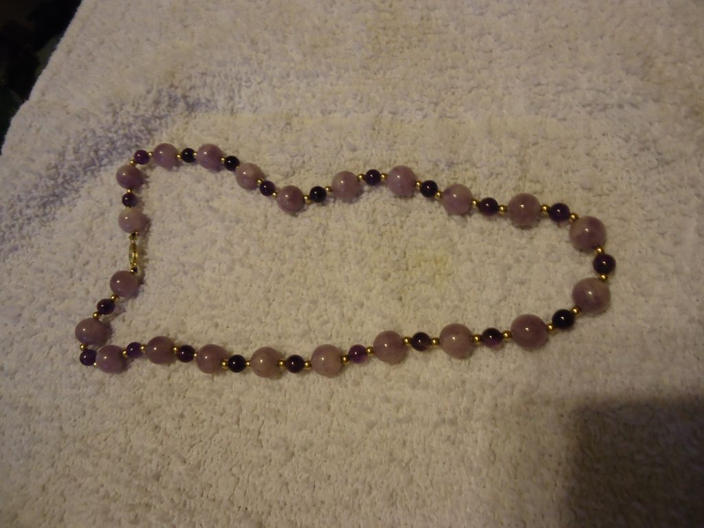"Fabulous 14k Purple Agate & Amethyst Beaded 18"" Necklace"