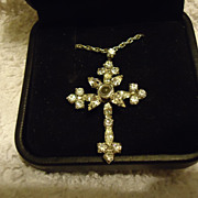 "SALE Beautiful Sterling Silver Crystal Cross Pendant on 18"" Chain"