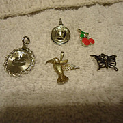 SALE Five Beautiful Vintage Sterling Silver Bracelet Charms