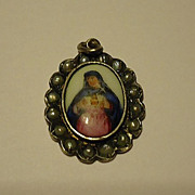 SOLD Exquisite 800 Silver Hand Painted Virgin Mary Seed Pearl Pendant