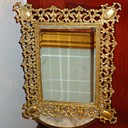 SALE Exceptional 1880s French Baroque Gilt Bronze Standing Table Mirror