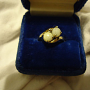 SALE Pretty 10k Yellow Gold White Striped Agate Size 6.25 Estate Ring