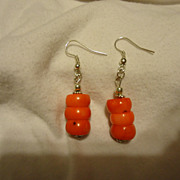 SALE Pair of Sterling Silver Red Coral Estate Earrings