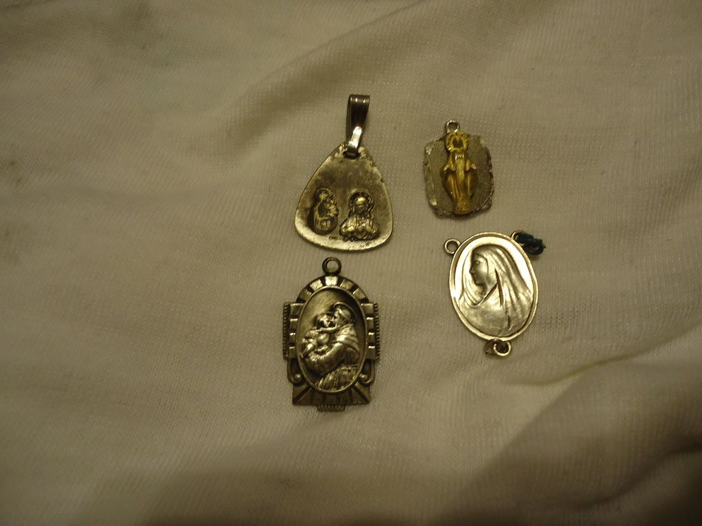Set of 4 Vintage Sterling Silver Catholic Religious Medals