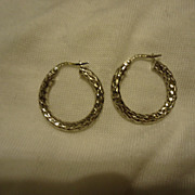 SALE Pair of 18k White Gold Hoop Earrings