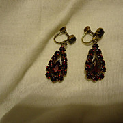 SALE Pair 1920s Bohemian Garnet Czecholslovakia Drop Earrings