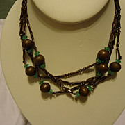 "Beautiful Vintage Copper Ball & Link 61"" Necklace"