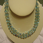 "Pretty Three Strand Light Blue Crystal 16.5"" Necklace"