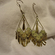 Pair of 1920s 800 Silver Filigree Dangling Estate Earrings