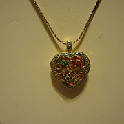 "SALE Beautiful Sterling Silver Vermeil Ruby, Emerald, Sapphire Locket on 18"" 14k GF Chain"