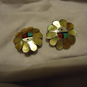 Cheerful Pair of  Sterling Silver Zuni Sun Inlaid Earrings