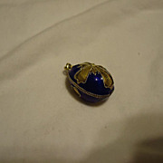 SALE Beautiful Sterling Silver Vermeil Blue Enamel Cross Egg Charm