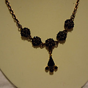 "SALE Antique Circa 1900 Bohemian Rose Cut Garnet 16""Necklace"